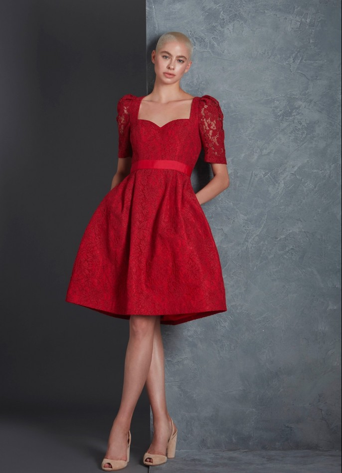 RED LACE AND COTTON DRESS