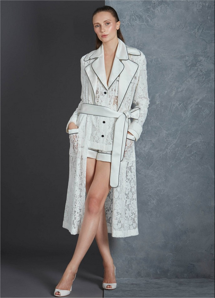 WHITE LACE AND SATIN TRENCH COAT