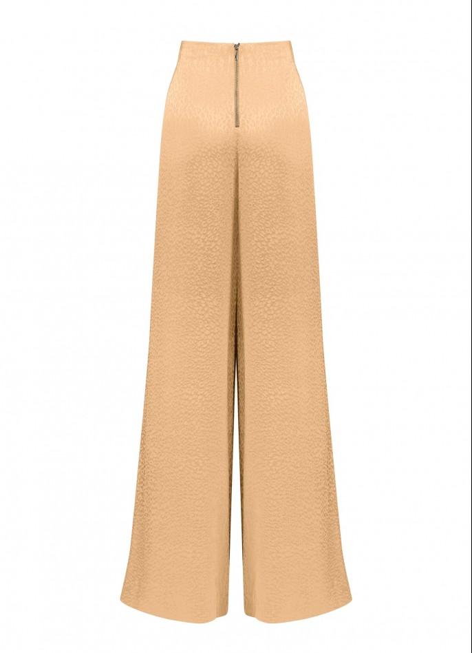 BEIGE HIGH WAISTED CUPRO JACQUARD WIDE-LEG PANTS