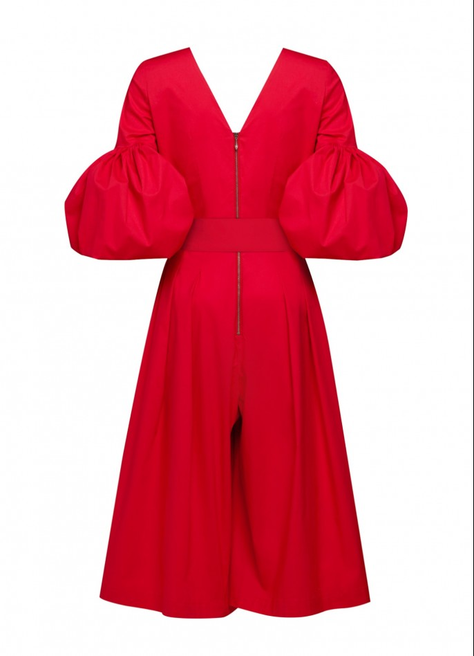 RED COTTON POPLIN PUFF SLEEVE BELTED JUMPSUIT