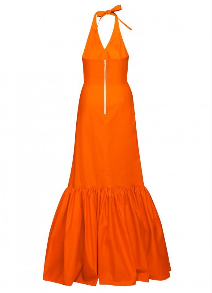 ORANGE COTTON POPLIN MAXI DRESS