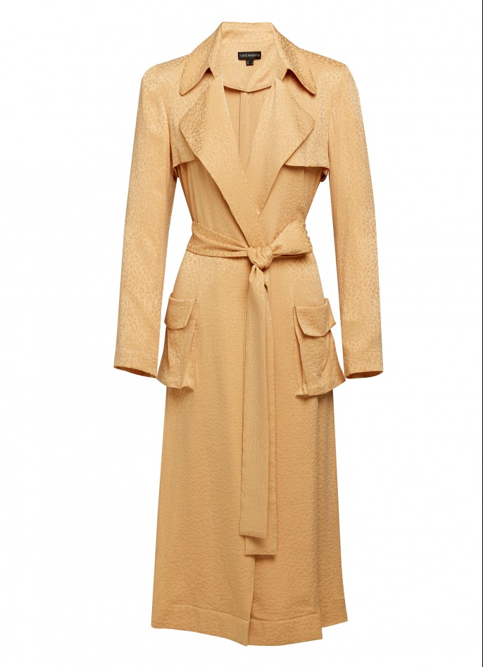 BEIGE CUPRO JACQUARD TRENCH COAT (PRE ORDER - AVAILABLE IN 10 DAYS)