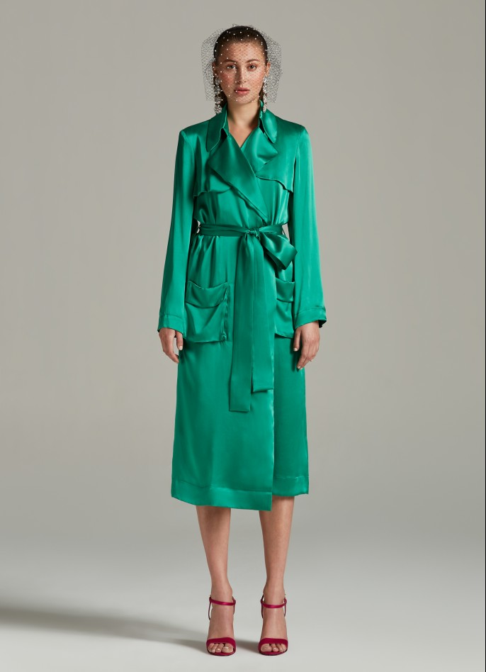 GREEN SILK SATIN TRENCH COAT