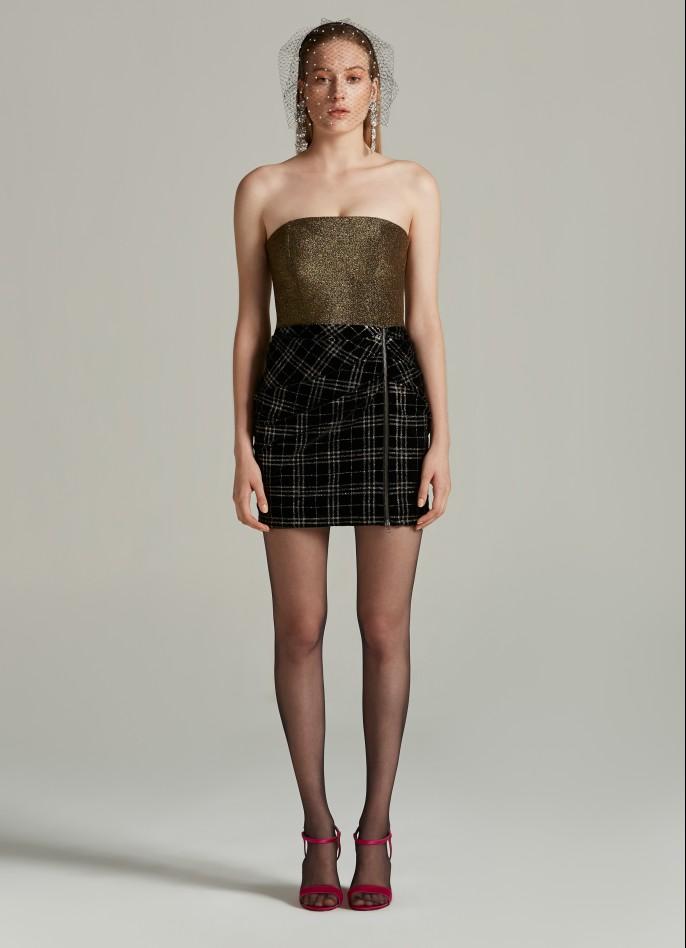 BLACK GOLD STRETCH METALLIC AND GLITTER-CHECKED VELVET DRAPED MINI DRESS