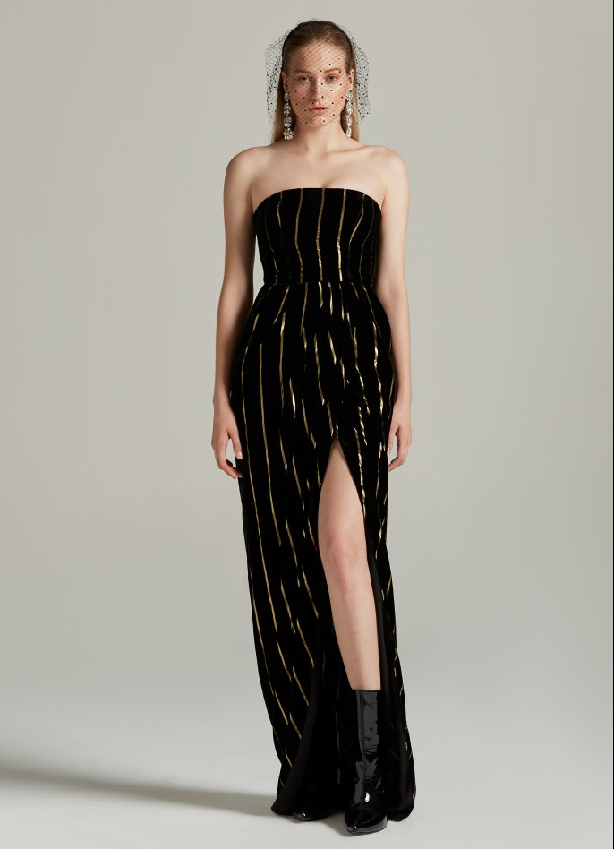 BLACK GOLD METALLIC PINSTRIPED VELVET DRAPED GOWN