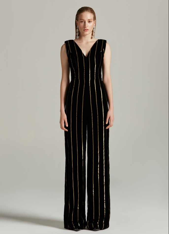 BLACK GOLD METALLIC PINSTRIPED VELVET JUMPSUIT