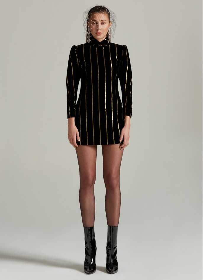 BLACK GOLD METALLIC PINSTRIPED VELVET PUFF SLEEVE DRESS