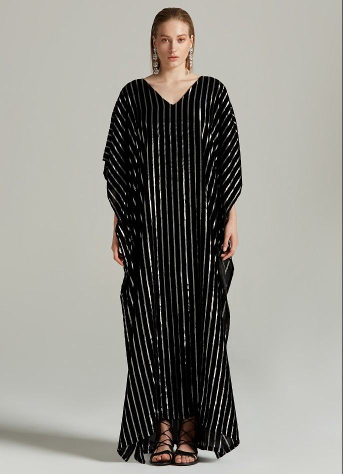 BLACK SILVER METALLIC PINSTRIPED VELVET KAFTAN
