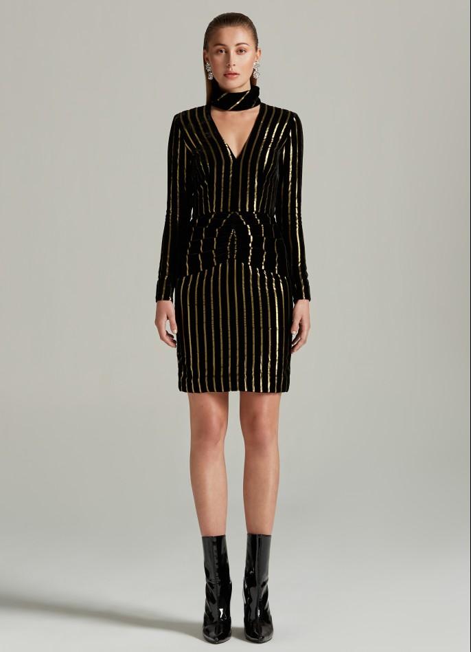 BLACK GOLD METALLIC PINSTRIPED VELVET CHOKER DRESS