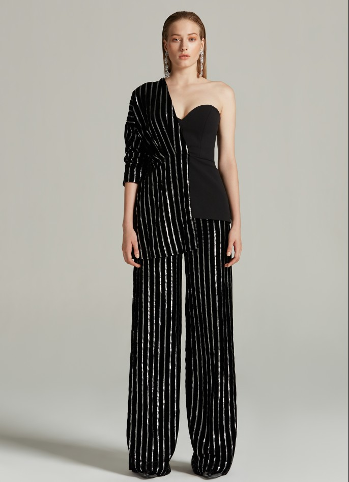 BLACK SILVER METALLIC PINSTRIPED VELVET AND STRETCH CREPE ONE-SHOULDER TOP