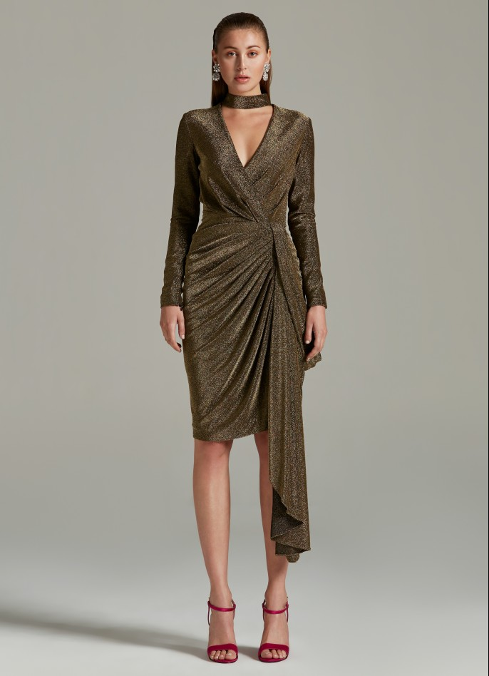 GOLD METALLIC DRAPED DRESS
