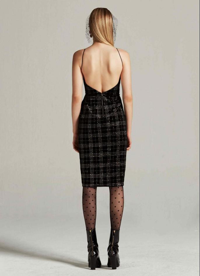 BLACK GLITTER-CHECKED VELVET DRAPED BACKLESS DRESS