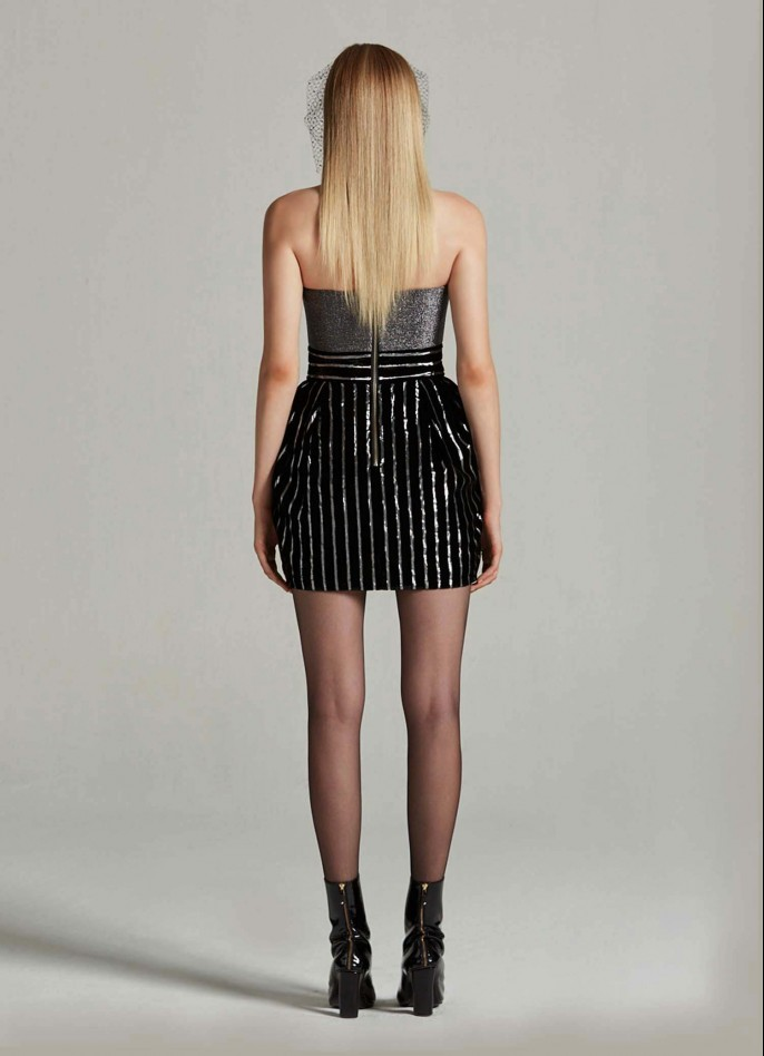 BLACK SILVER STRETCH METALLIC AND METALLIC PINSTRIPED VELVET MINI DRESS