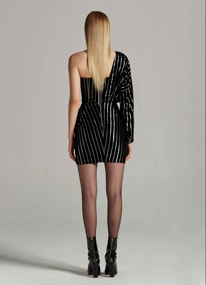 BLACK SILVER METALLIC PINSTRIPED VELVET ONE-SHOULDER MINI DRESS