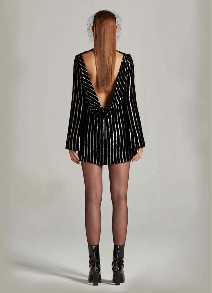 BLACK SILVER METALLIC PINSTRIPED VELVET BACKLESS DRESS