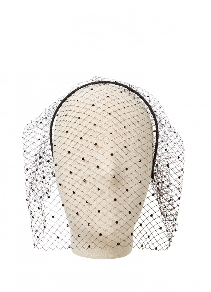 SWAROVSKI CRYSTAL-DECORATED VEIL - BLACK