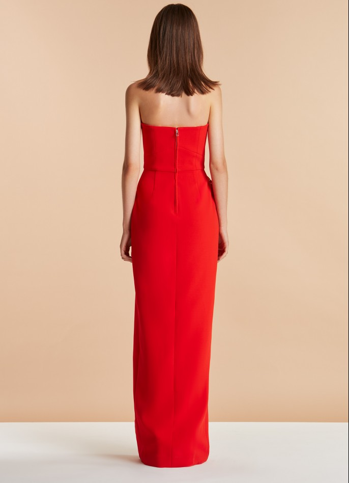 RED LACE AND CREPE-BLEND RUFFLE GOWN