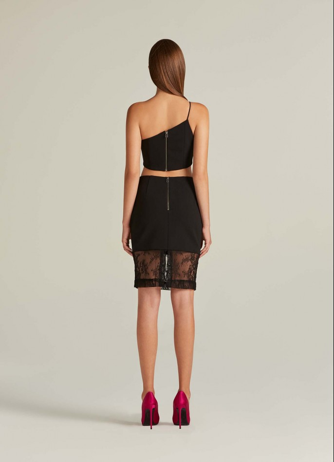BLACK CREPE BLEND AND LACE PENCIL SKIRT
