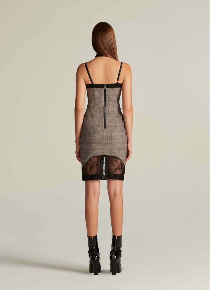BLACK CHECKED AND LACE DRESS