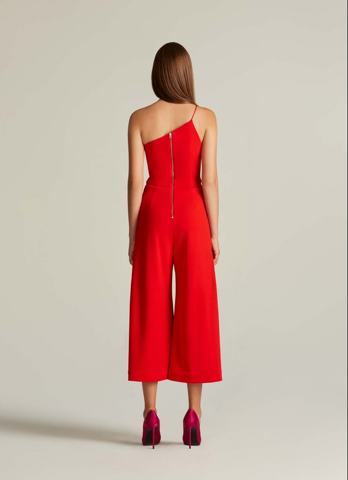 RED CREPE BLEND ONE SHOULDER JUMPSUIT