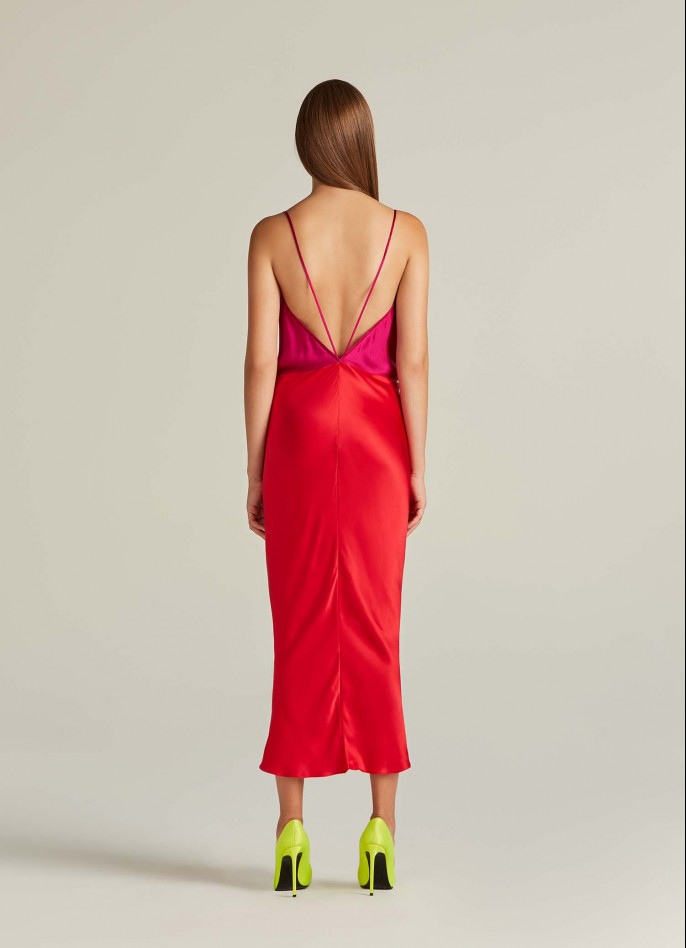 SHOCKING PINK RED SILK SATIN BACKLESS MIDI DRESS