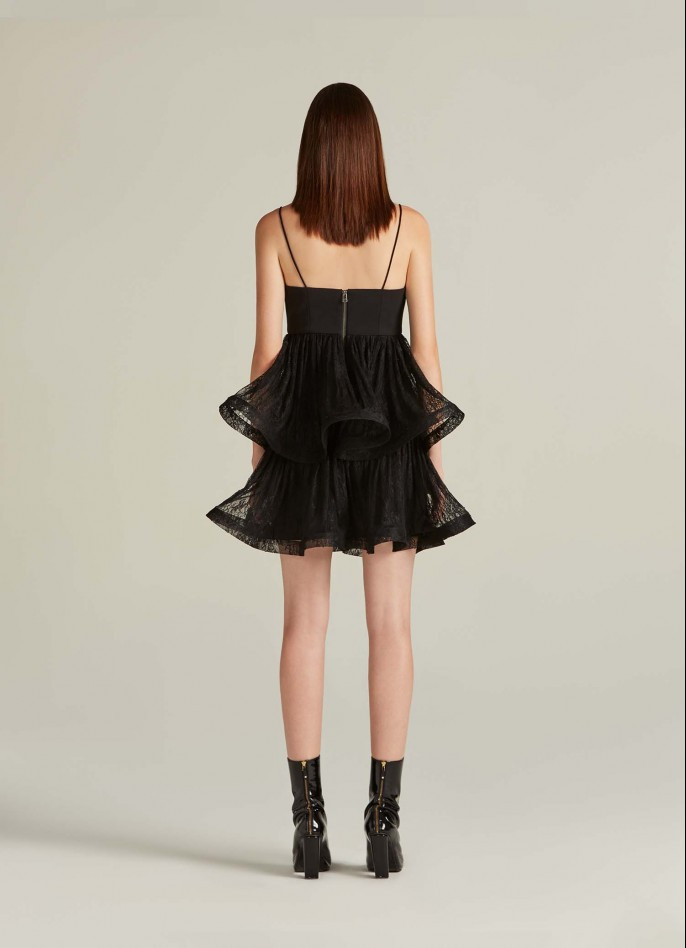 BLACK CREPE BLEND AND LACE RUFFLE MINI DRESS  (PRE ORDER - AVAILABLE IN 10 DAYS)
