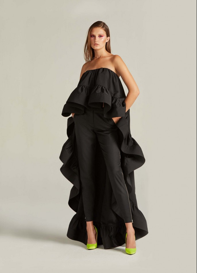 BLACK GROSGRAIN AND CREPE BLEND RUFFLE TOP  (PRE ORDER - AVAILABLE IN 10 DAYS)