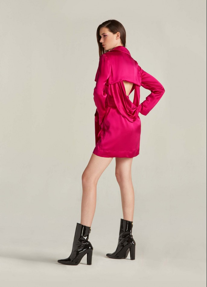 SHOCKING PINK DRAPED SATIN BACKLESS TRENCH DRESS  (PRE ORDER - AVAILABLE IN 10 DAYS)