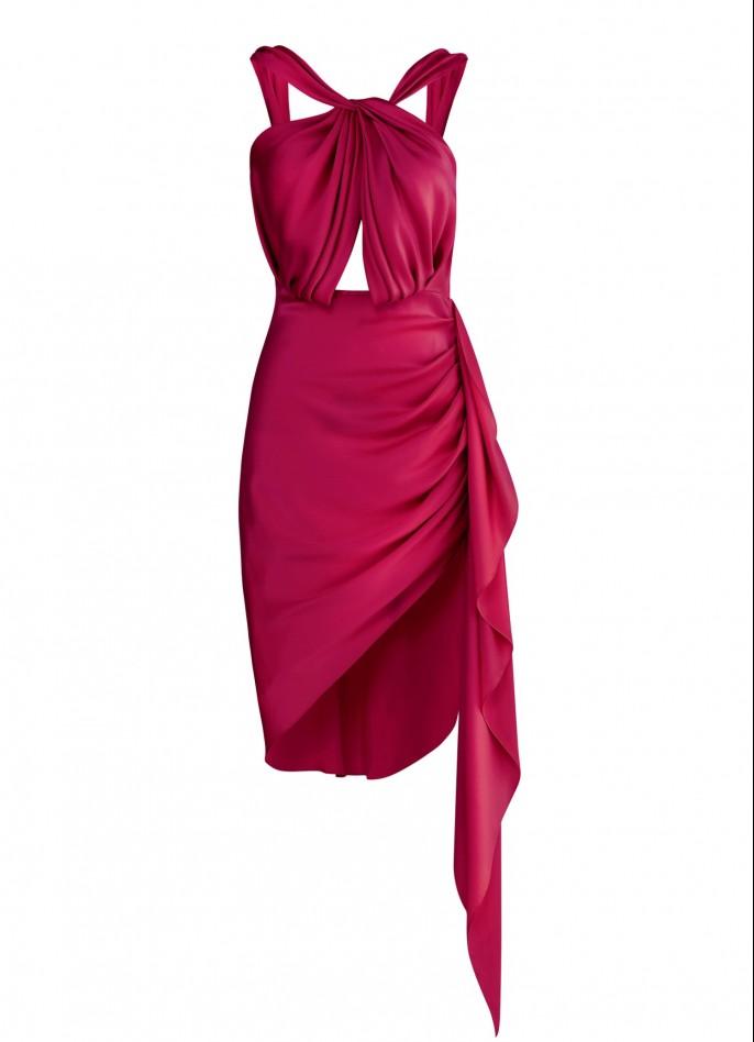 RUBY SILK SATIN DRAPED BACKLESS MINI DRESS
