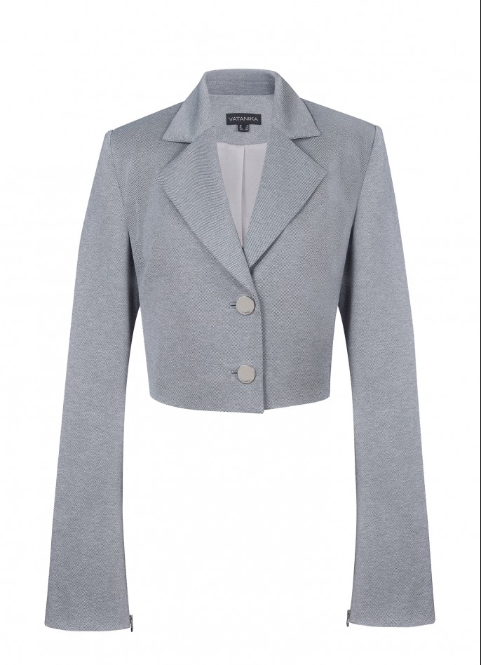 GREY RAYON BLEND BELL-SLEEVE CROPPED JACKET