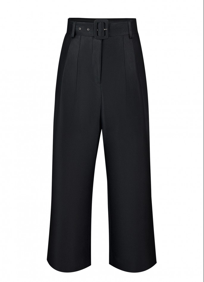 BLACK SILK AND WOOL BLEND HIGH WAISTED BELTED PANTS